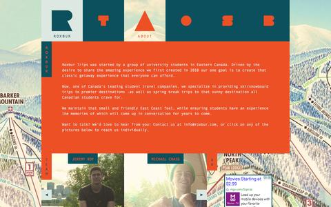 Screenshot of About Page roxbur.com - ROXBUR   ABOUT - captured Oct. 7, 2014