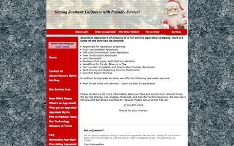Screenshot of Services Page associateappraisersofamerica.com - Real estate appraisal services offered by Associate Appraisers of America, Seal Beach, CA - Services - captured Dec. 26, 2015