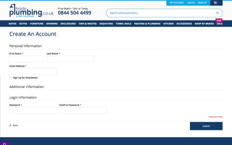 Screenshot of Signup Page tradeplumbing.co.uk - Create New Customer Account - captured Aug. 2, 2017
