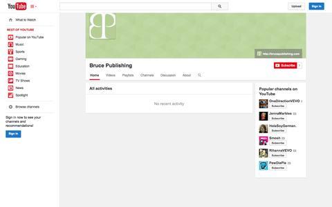 Screenshot of YouTube Page youtube.com - Bruce Publishing  - YouTube - captured Oct. 25, 2014