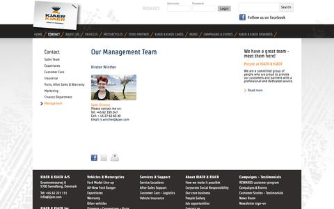 Screenshot of Team Page kjaer.com - Contact our Management Team - captured Oct. 6, 2014