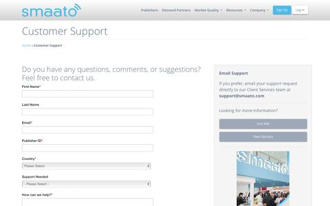 Screenshot of Support Page smaato.com - Customer Support & Assistance - Smaato - captured June 22, 2018