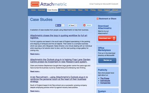 Screenshot of Case Studies Page attachmetric.com - Case Studies | Attachmetric - captured Oct. 10, 2014