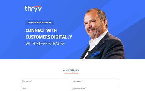 Screenshot of Landing Page thryv.com - Biz Talk Webinar Series - Register for Free. Learn how to connect with customers digitally with Steve Strauss. - captured April 1, 2018