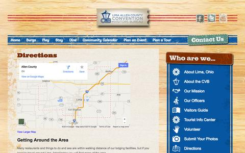 Screenshot of Maps & Directions Page lima-allencvb.com - Directions - captured Oct. 2, 2014