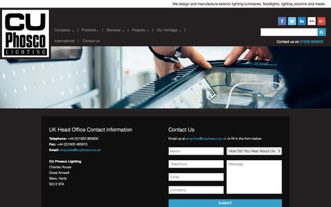 Screenshot of Contact Page cuphosco.com - Contact CU Phosco Manufacturers and Designers of Award Winning Lighting Solutions - captured Jan. 23, 2016