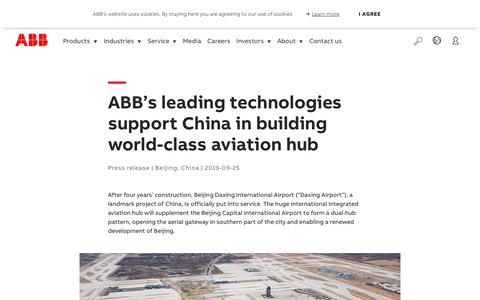 Screenshot of Support Page abb.com - ABB's leading technologies support China in building world-class aviation hub - captured Nov. 9, 2019