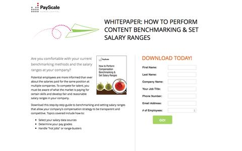 Screenshot of Landing Page payscale.com - How to Perform Content Benchmarking & Set Salary Ranges - captured Jan. 3, 2017
