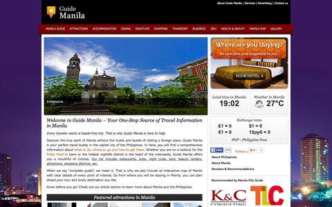 Screenshot of Home Page guide-manila.com - Manila Guide | Travel Guide Manila City |  Guide Manila - captured Feb. 15, 2016