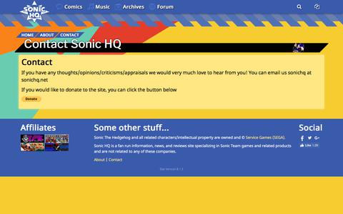 Screenshot of Contact Page sonichq.net - Contact Sonic HQ - captured July 2, 2018