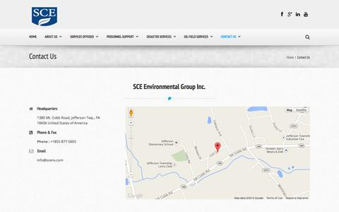 Screenshot of Contact Page scenv.com - Contact Us | SCE Environmental Group - captured Oct. 1, 2014