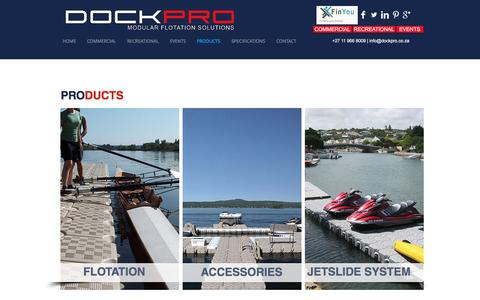 Screenshot of Products Page dockpro.co.za - Products   DOCKPRO   Southern Africa - captured Nov. 23, 2016