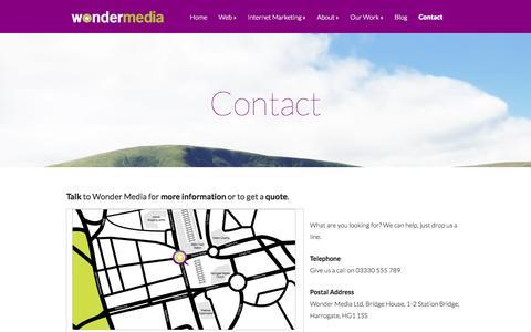 Screenshot of Contact Page wondermedia.co.uk - Contact | Wonder Media Ltd - captured Oct. 1, 2014