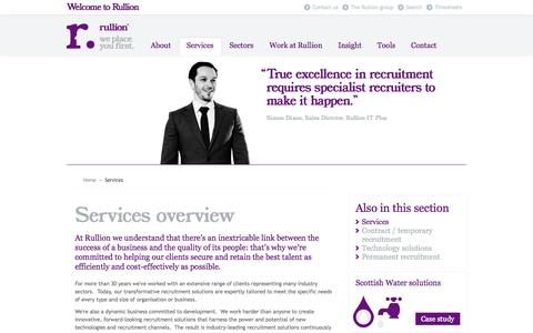 Screenshot of Services Page rullion.co.uk - Services overview | Rullion - captured Oct. 10, 2014