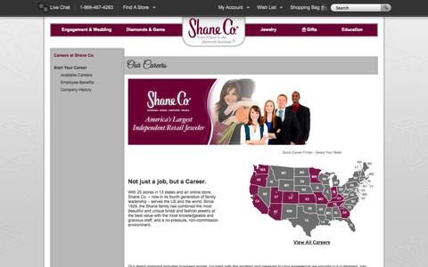 Screenshot of Jobs Page shaneco.com - Jewelry Careers at Shane Co. - captured Sept. 23, 2014