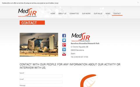 Screenshot of Contact Page medsir.org - Contact | MedSIR - captured Oct. 27, 2014