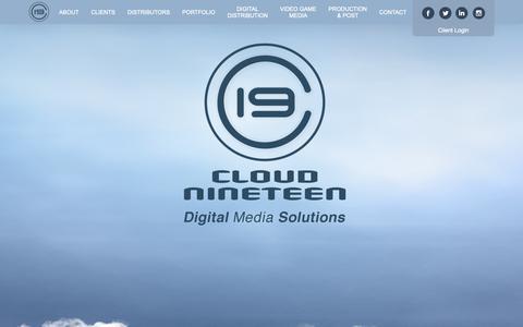 Screenshot of Home Page cloud19.com - Cloud 19: Digital Media Solutions & Services - captured Sept. 28, 2018