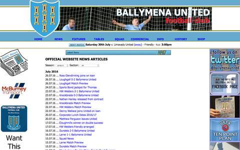 Screenshot of Press Page ballymenaunitedfc.com - Ballymena United Football Club News & Media Articles - captured July 28, 2016