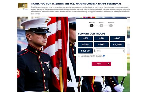 Screenshot of Landing Page uso.org - Donate | USO.org - captured Nov. 10, 2016