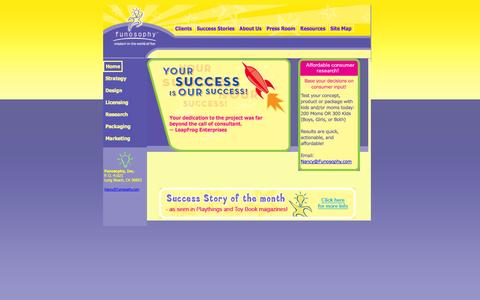 Screenshot of Home Page funosophy.com - Funosophy is the top toy invention representation and toy consulting firm in the toy industry. Let us help you drive your business. - captured Oct. 6, 2014