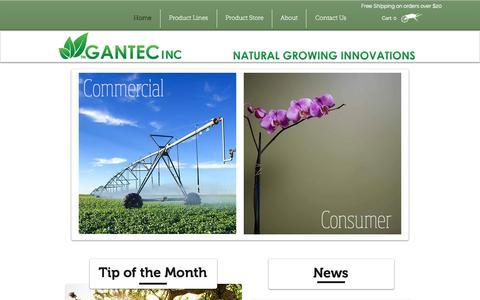 Screenshot of Home Page gantecinc.com - Gantec Inc. - Natural Growing Innovations - captured Sept. 16, 2014