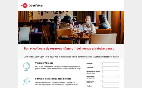 Screenshot of Landing Page opentable.com captured March 4, 2018