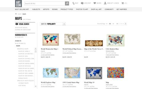 Screenshot of Maps & Directions Page art.com - Maps, Posters and Prints at Art.com - captured Sept. 11, 2014