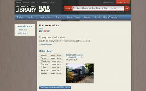 Screenshot of Hours Page multcolib.org - Hours & locations | Multnomah County Library - captured Oct. 30, 2014