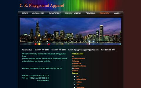 Screenshot of Products Page ckplaygroundapparel.com - Products - C. K. Playground Apparel - captured Sept. 26, 2014