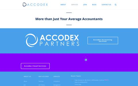 Screenshot of Services Page accodex.com - Services | Accodex Partners - captured June 29, 2016