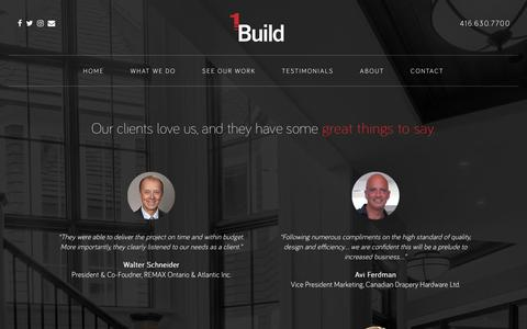 Screenshot of Testimonials Page 1build.ca - 1Build Inc. - Design. Build. Live. - captured Nov. 28, 2016