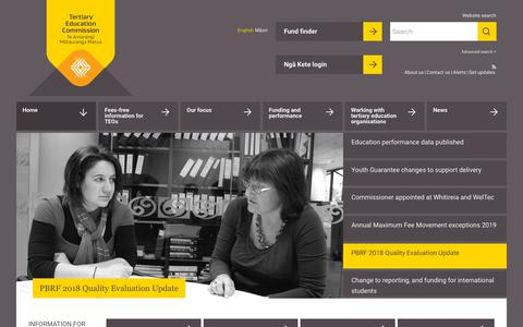 Screenshot of Home Page tec.govt.nz - | Tertiary Education Commission - captured Oct. 20, 2018