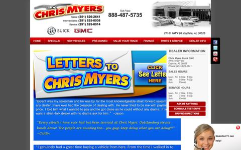 Screenshot of Testimonials Page chrismyersbuickgmc.com captured Dec. 8, 2015
