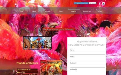 Screenshot of Contact Page bayoubacchanal.org - Connect with Friends of Culture and the Caribbean community - captured Oct. 14, 2017