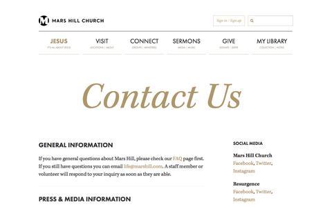 Screenshot of Contact Page marshill.com - Contact Us | Mars Hill Church - captured Nov. 3, 2014
