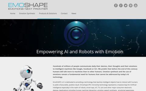 Screenshot of Home Page emoshape.com - EmoShape - Emotion Synthesis for AI and Robots - captured Jan. 23, 2016
