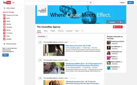Screenshot of YouTube Page youtube.com - The CauseWay Agency  - YouTube - captured Oct. 26, 2014