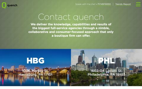 Screenshot of Contact Page quenchagency.com - Contact Us | quench Agency - captured July 20, 2016