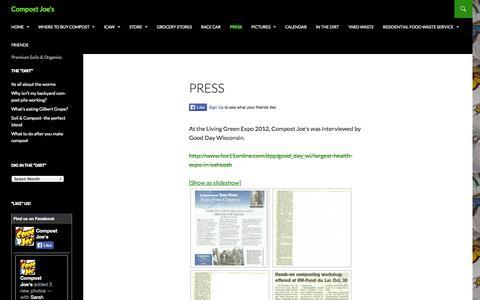 Screenshot of Press Page compostjoes.com - Press   Compost Joe's - captured Oct. 7, 2014