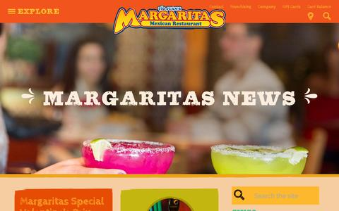 Screenshot of Press Page margs.com - News | Margaritas Mexican Restaurant - captured Feb. 12, 2016