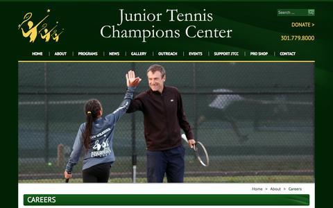 Screenshot of Jobs Page jtcc.org - Careers -Junior Tennis Champions Center - captured Oct. 6, 2014