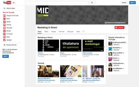 Screenshot of YouTube Page youtube.com - Marketing in Direct  - YouTube - captured Oct. 23, 2014