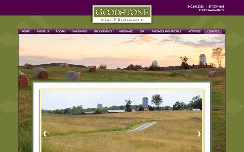 Screenshot of Contact Page goodstone.com - Virginia Romantic Inn | Middleburg VA Inn | Virginia Inn | Goodstone Inn & Restaurant - captured Oct. 3, 2014