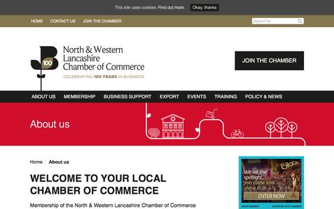 Screenshot of About Page lancschamber.co.uk - About us - North & Western Lancashire Chamber of Commerce - captured Feb. 15, 2016
