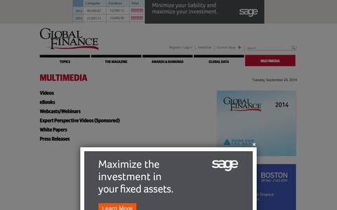 Screenshot of Press Page gfmag.com - Multimedia   Global Finance Magazine - captured Sept. 23, 2014