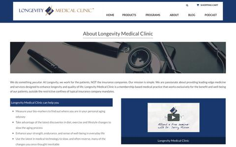 Screenshot of About Page longevitymedicalclinic.com - About Longevity Medical Clinic - Feel Younger, Live Better - captured Dec. 13, 2015