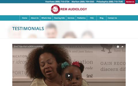 Screenshot of Testimonials Page remaudiology.com - Testimonials - REM Audiology - Hearing Aids and Hearing Tests - captured Nov. 8, 2017