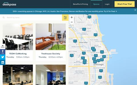 Screenshot of Locations Page deskpass.com - Coworking & Shared Office in Chicago, NYC, LA, Austin, San Francisco, Denver and Boston | Deskpass - captured Nov. 1, 2018