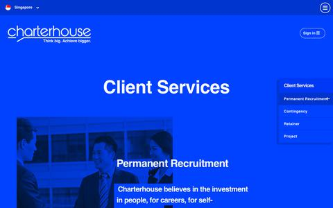 Screenshot of Services Page charterhouse.com.sg - Permanent Recruitment - Charterhouse SG - captured Oct. 25, 2018