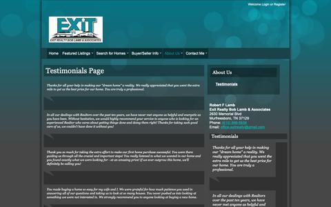 Screenshot of Testimonials Page exitboblamb.com - Testimonials Page   Robert F Lamb   (615) 896-5656   Murfreesboro TN Homes for Sale - captured Sept. 30, 2018